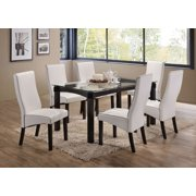 """Eugene 7-Piece Dining Set, 59"""" Rectangular, Transitional, (Cappuccino Table With Beveled Glass Top & 6 Gray Chairs)"""
