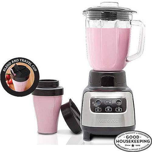 FARBERWARE 4-Speed Digital Blender With Travel Cup, Stainless Steel