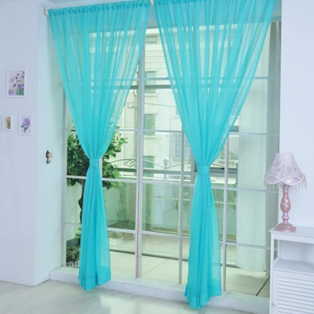 Cottcuboaba Solid color wedding glass yarn transparent window curtain color curtain ()