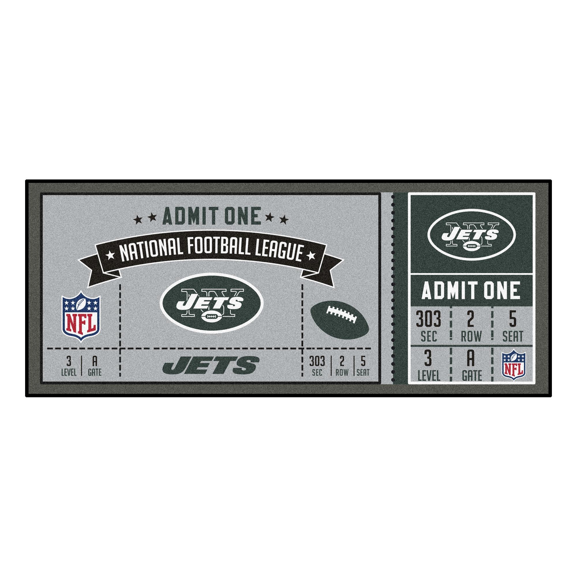 NFL New York Jets Ticket Non-Skid Mat Area Rug Runner