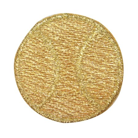 ID 1575 Gold Tennis Ball Patch Sports Equipment Embroidered Iron On Applique ID 1575 Gold Tennis Ball Patch Sports Equipment Embroidered Iron On Applique.  New embroidered iron on patch.   Size is approximately 1 1/2  wide and 1 1/2  tall.