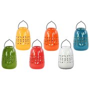 6-Pc Ceramic Cylindrical Tea Light Lantern Set