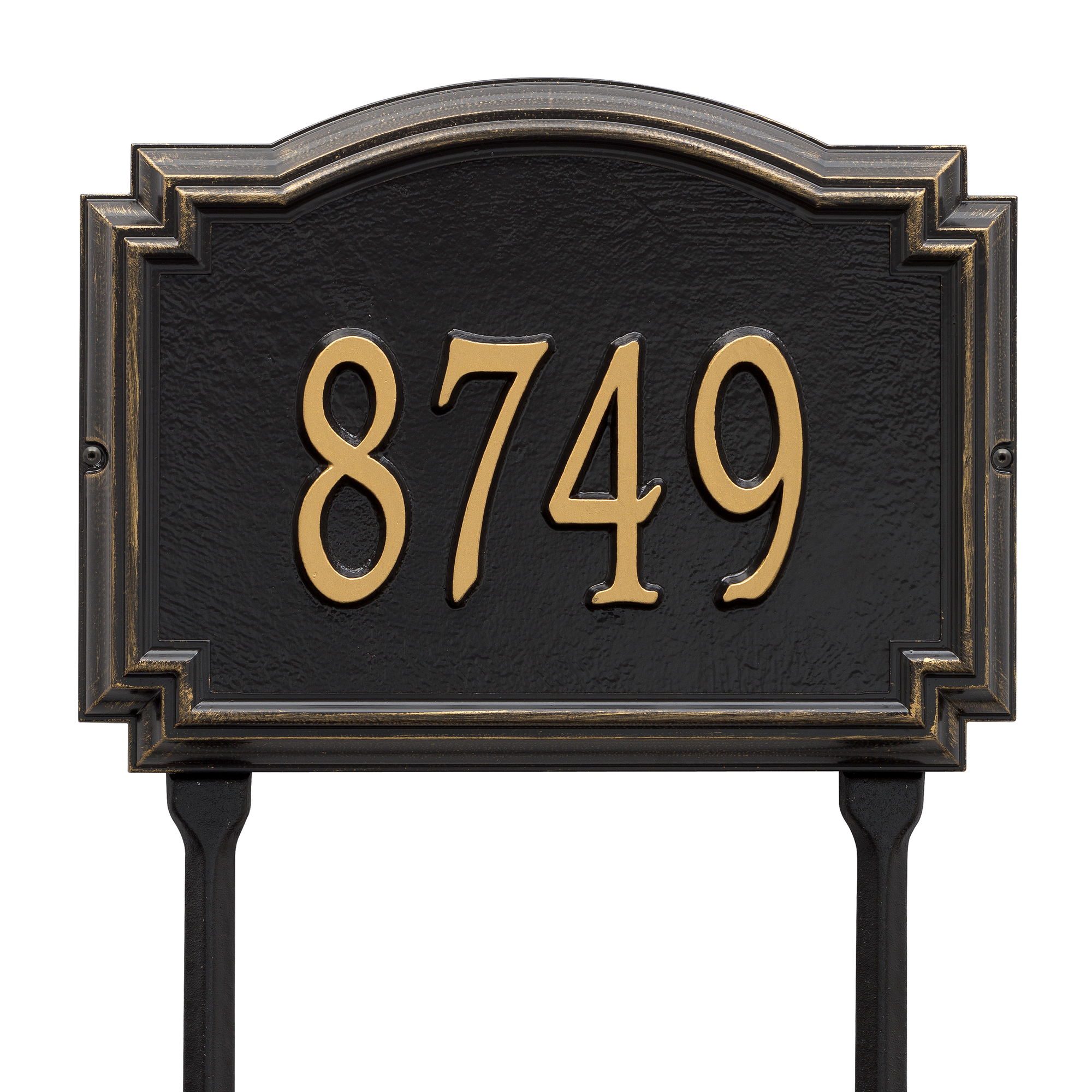 Personalized Whitehall Products Williamsburg 1-Line Standard Lawn Plaque in Black/Gold