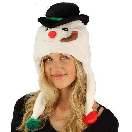 Critter Caps Christmas Holiday Winter Frosty the Snowman Beanie Hat - Super Soft Plush with Bell Furry Ski Trooper Trapper Hat - Christmas Holiday Gift Ideas - Great for Boys and Girls