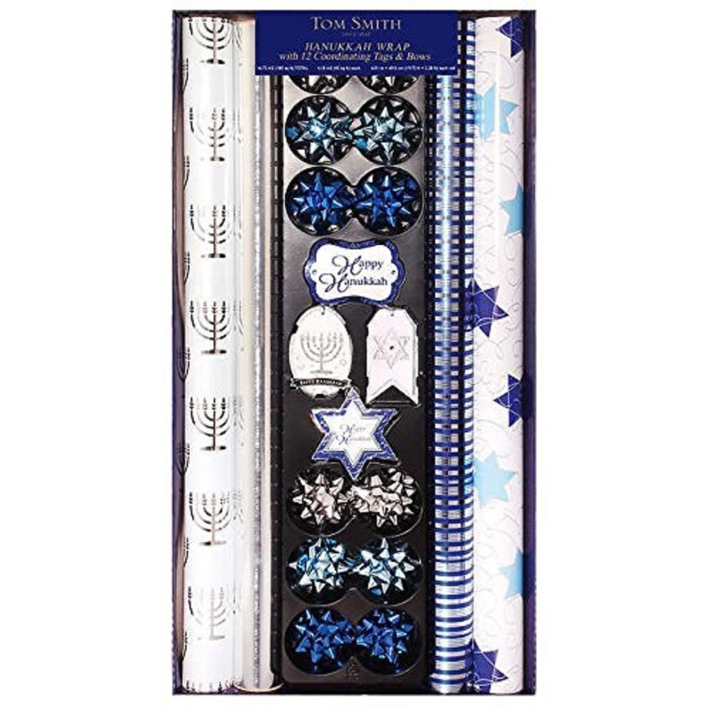 Hanukkah Wrapping Paper, Coordinating Tags & Bows, 4 Rolls of paper By Tom Smith