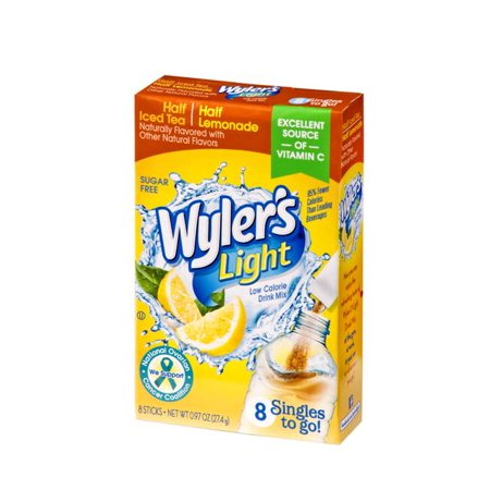 (4 Pack) Wyler's Light Drink Mix Singles To Go! Half Iced Tea/ Half Lemonade, Sugar Free, 8-ct