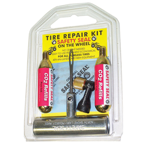 "Safety Seal SSKATVC1 ATV Tire Repair Kit, with 2 CO2 Cartridges, Inflator, 6 4"" Inserts, Insertion Tool, in Case"