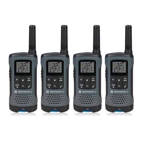 Motorola Talkabout T100 Walkie Talkie 4 Pack Set 16 Mile Two Way Blue Radios new