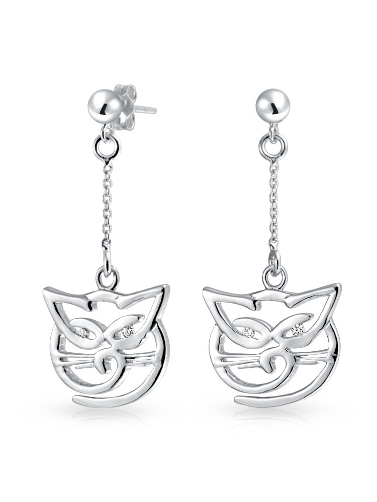 925 Sterling Silver Earrings Ear Threads Fish and Cat