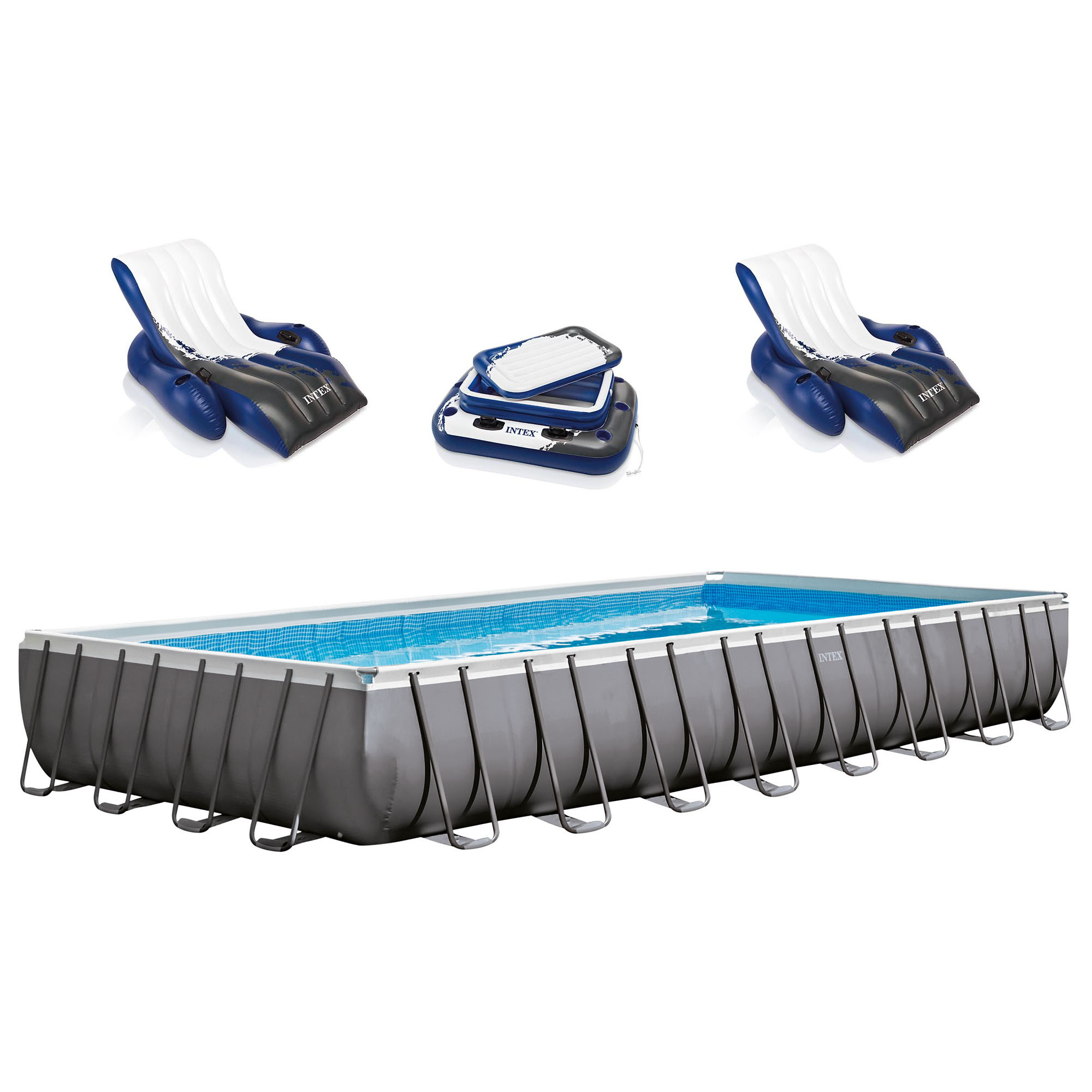 "Click here to buy Intex 32' x 16' x 52"" Ultra Frame Rectangular Swimming Pool Set 