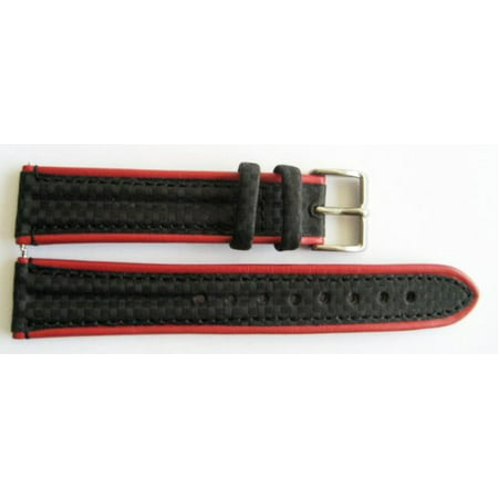 20MM BLACK RED GENUINE LEATHER CARBON FIBER SPORT WATCH BAND STRAP Carbon Fiber Watch Straps