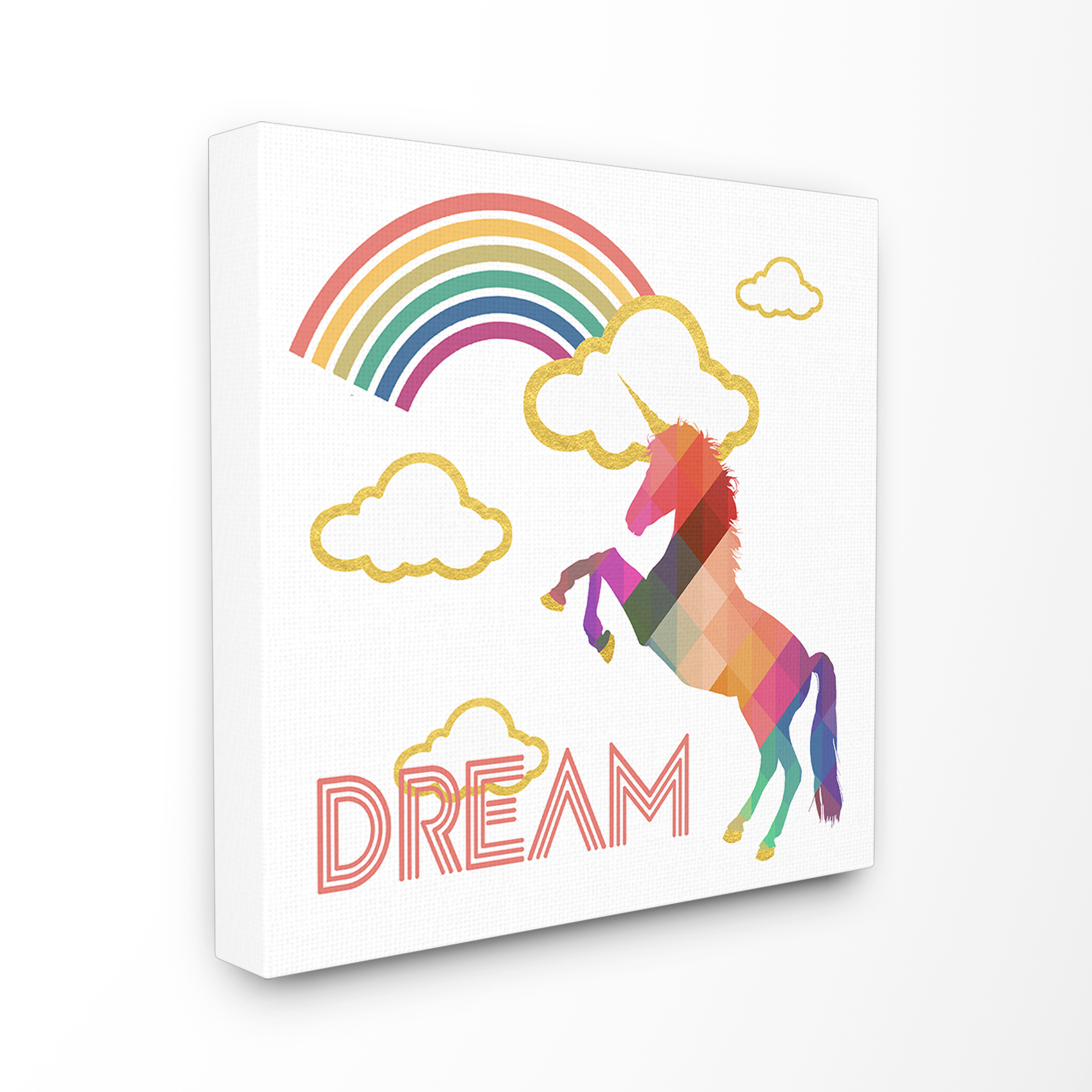 The Kids Room by Stupell Dream Rainbow Golden Unicorn Stretched Canvas Wall Art, 24 x 1.5 x 24