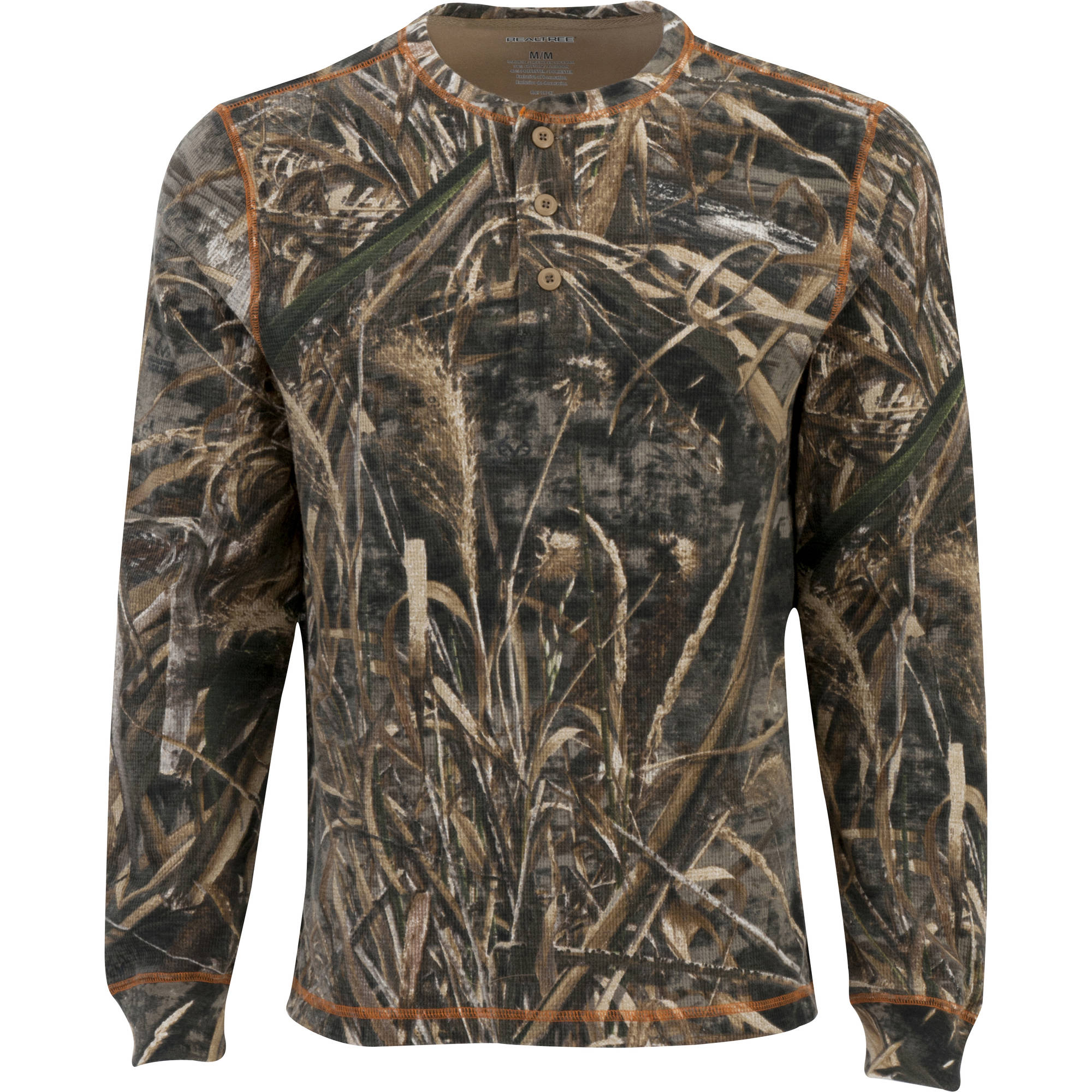 Realtree Men's Long Sleeve Thermal Henley, Multiple Patterns