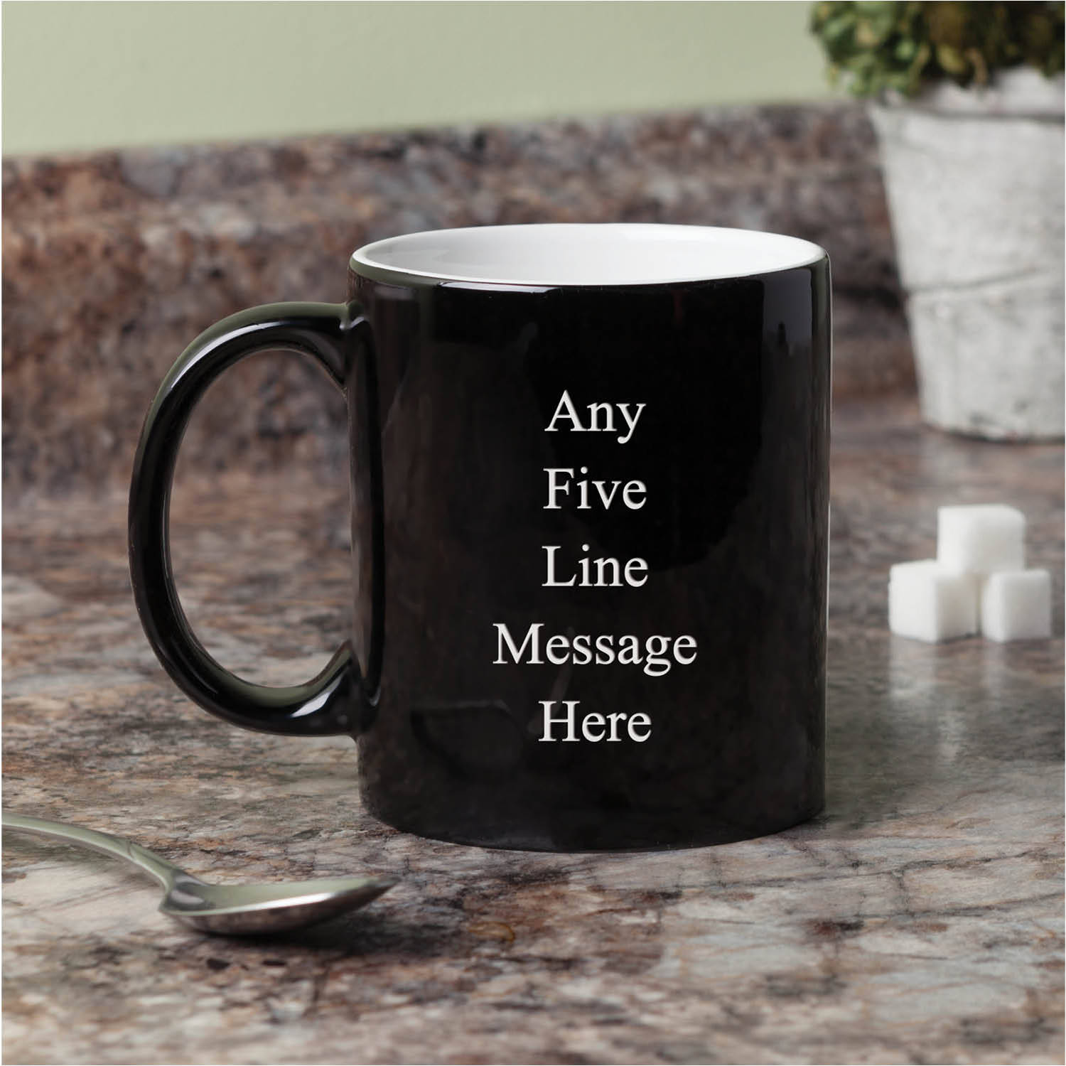 Personalized Any Message Black and White Coffee Mug