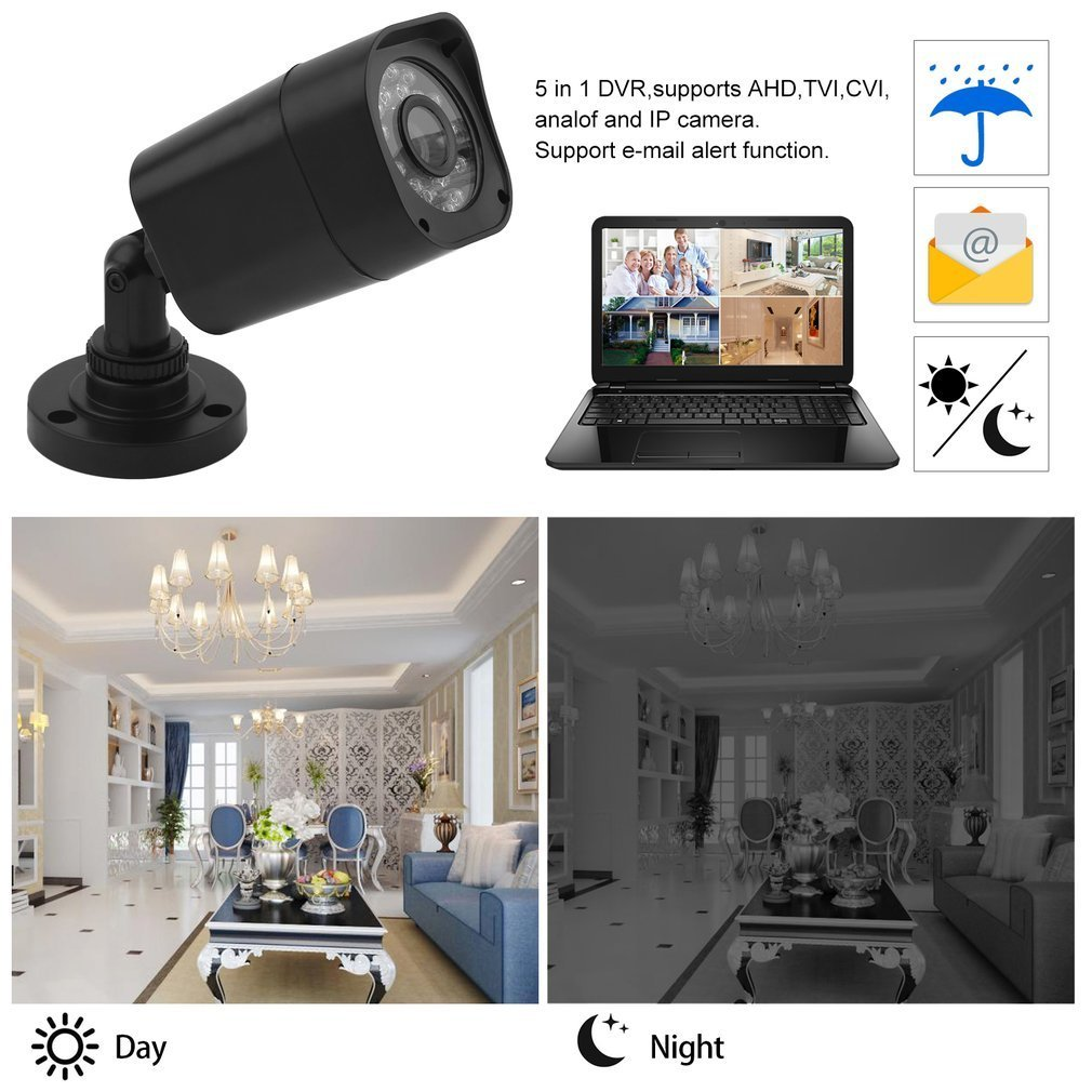 5 in 1 Security System, 1080N HDMI DVR Surveillance Video Recorder Security System Wired (4) Weatherproof HD 1500TVL Outdoor/Outdoor Cameras Surveillance Security System ,Email Alarm