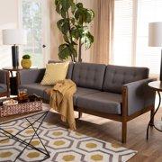 Baxton Studio Lenne Mid-Century Modern Gray Fabric Upholstered Walnut Finished Sofa