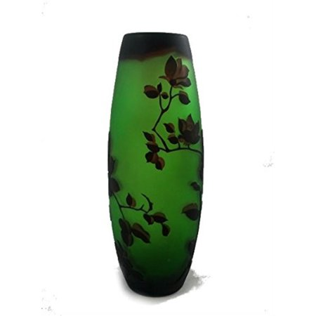Manhattan Chic Antiquity Collection Etched Glass Convex Vase 13.5