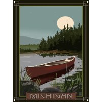 "Michigan Canoe In Moonlight Metal Art Print by Mike Rangner (9"" x 12"")"