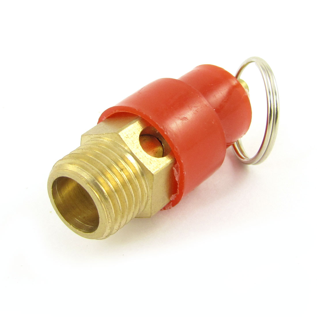 "Unique Bargains Red Cover 1/4""BSP Male Thread Safety Pressure Relief Valve w Ring"