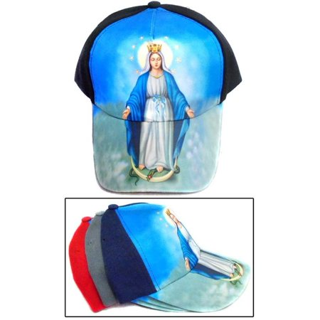 02ae7ce6af660 Virgin Mary Catholic Hispanic Mexican Baseball Caps Screen Printed - Navy  (CCap273 ZW)
