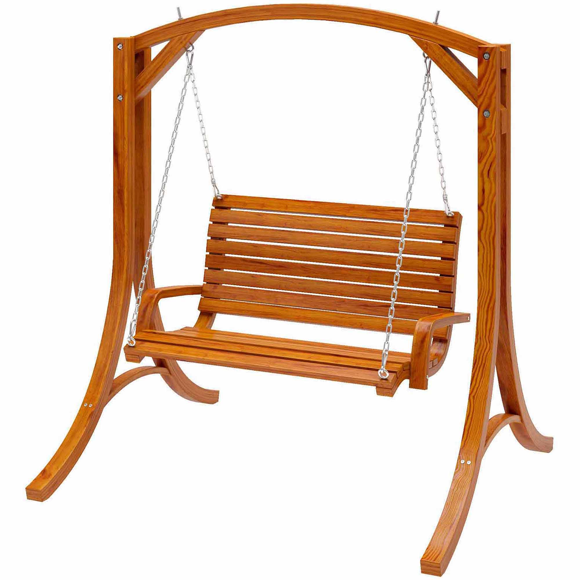 CorLiving Wood Canyon Cinnamon Brown Stained Patio Swing Walmart