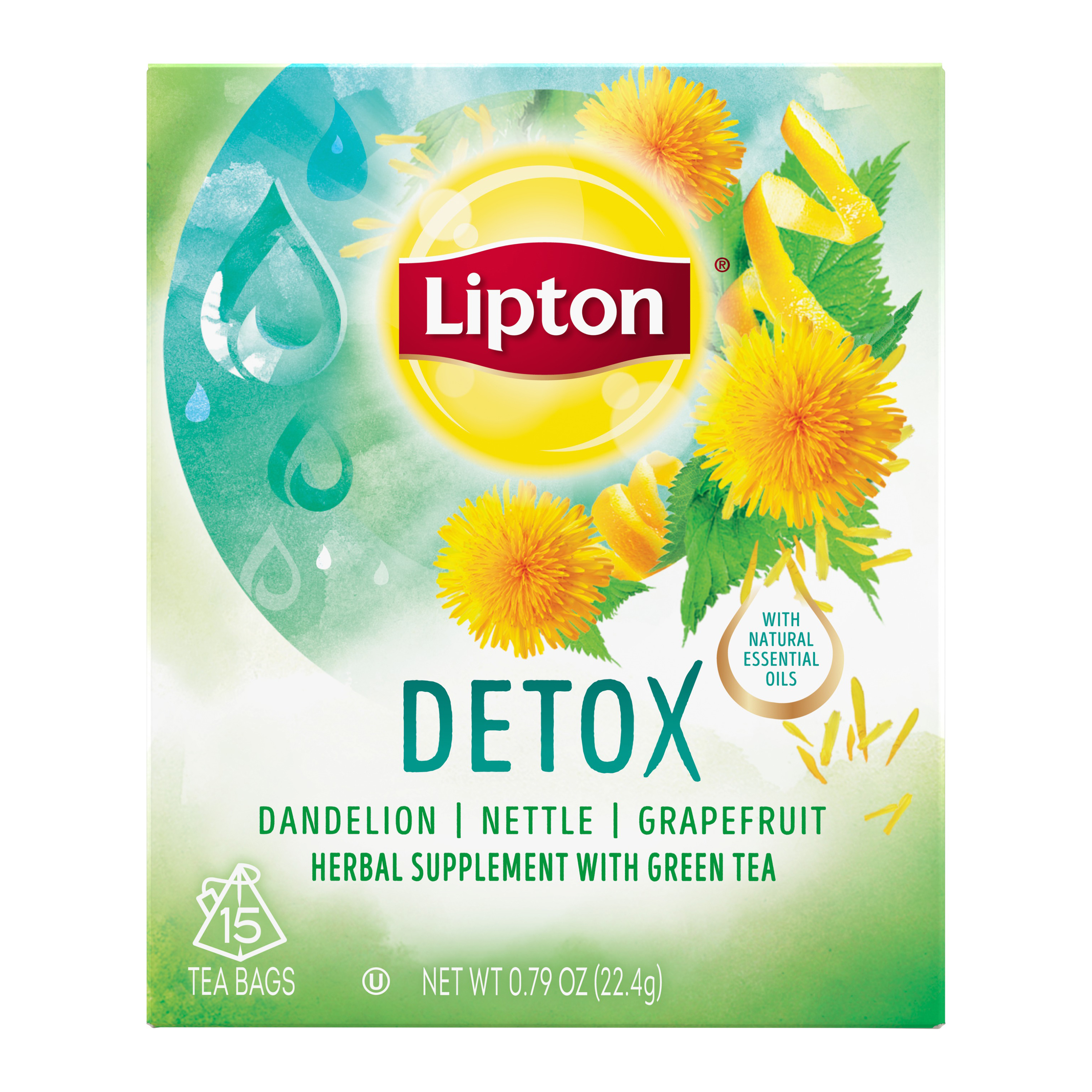 (2 pack) Lipton Herbal Supplement with Green Tea Detox, Tea Bags, 15 Ct