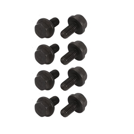 8Pcs M6x12mm Fully Thread Carbon Steel Hex Non-Serrated Flange Bolts Screws 2 Bolts Flanged Ball