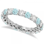 14k Gold 4 1/5ct TW Diamond and Aquamarine Eternity Ring Band (G-H, SI1-SI2) 14k White Gold - Size 3.5
