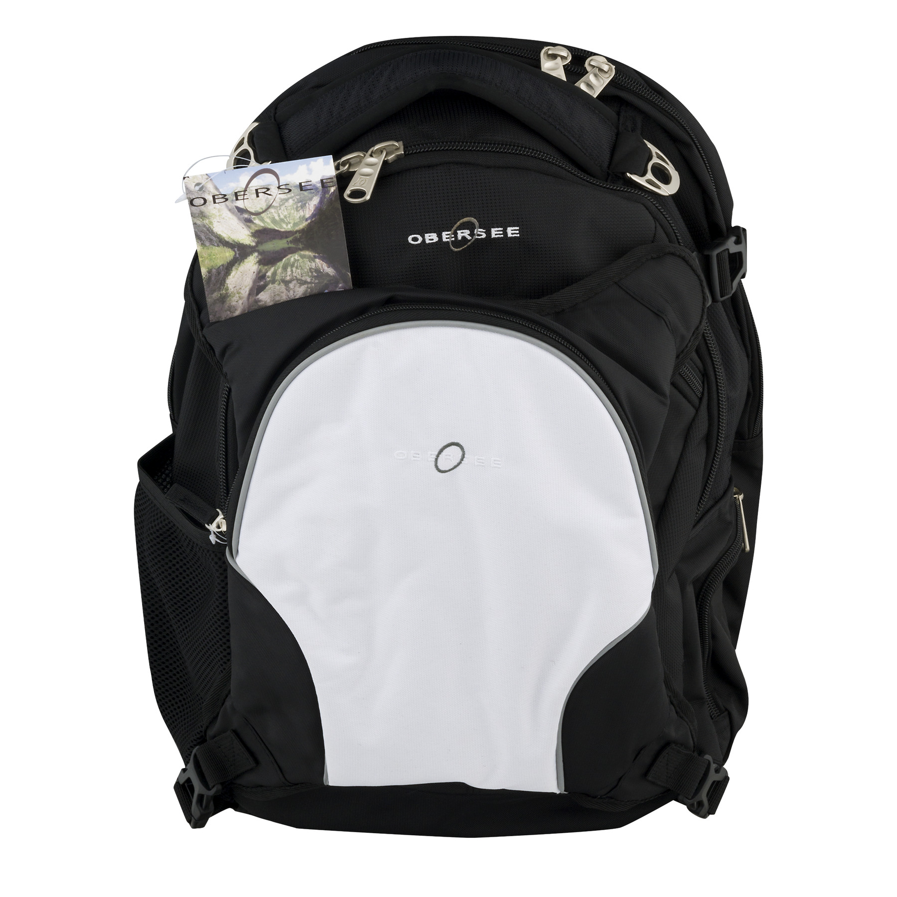 Obersee Oslo Diaper Bag Backpack With Cooler Black/White, 5.0 CT