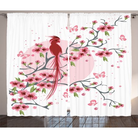 Japanese Decor Curtains 2 Panels Set, Mythical Legendary Long-Lived ...