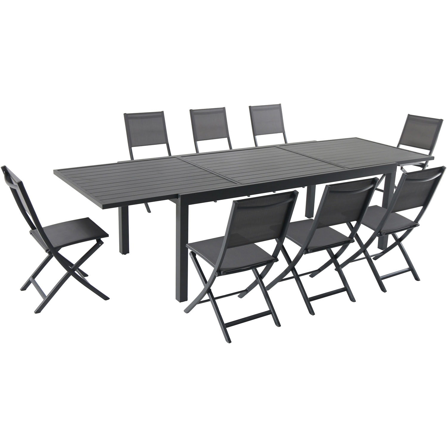 Hanover Naples 9-Piece Dining Set with 8 Folding Sling ...