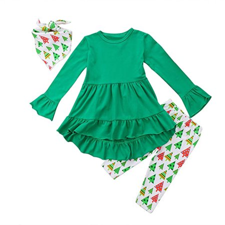 Christmas Baby Clothes Set Toddler Girl Clothes Ruffles Irregular Mini Dress Tops+Long Pant Scarf 3PCS Clothing Outfit Set - Good Christmas Outfits