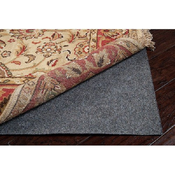 Gray Recycled Fiber Standard Reversible Felted Pad for a 8' Round Area Throw Rug
