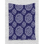 Navy and White Tapestry, Scroll Pattern with Little Rural Wildflowers and Buds Feminine Corsage, Wall Hanging for Bedroom Living Room Dorm Decor, 60W X 80L Inches, Indigo White, by Ambesonne
