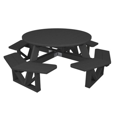 Recycled EarthFriendly Outdoor Round Picnic Table W Benches - Round picnic table with benches