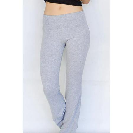 b456535fb9d Appleletics - Popular Basics Women s Cotton Yoga Pants With Fold Down Waist  (HeatherGrey