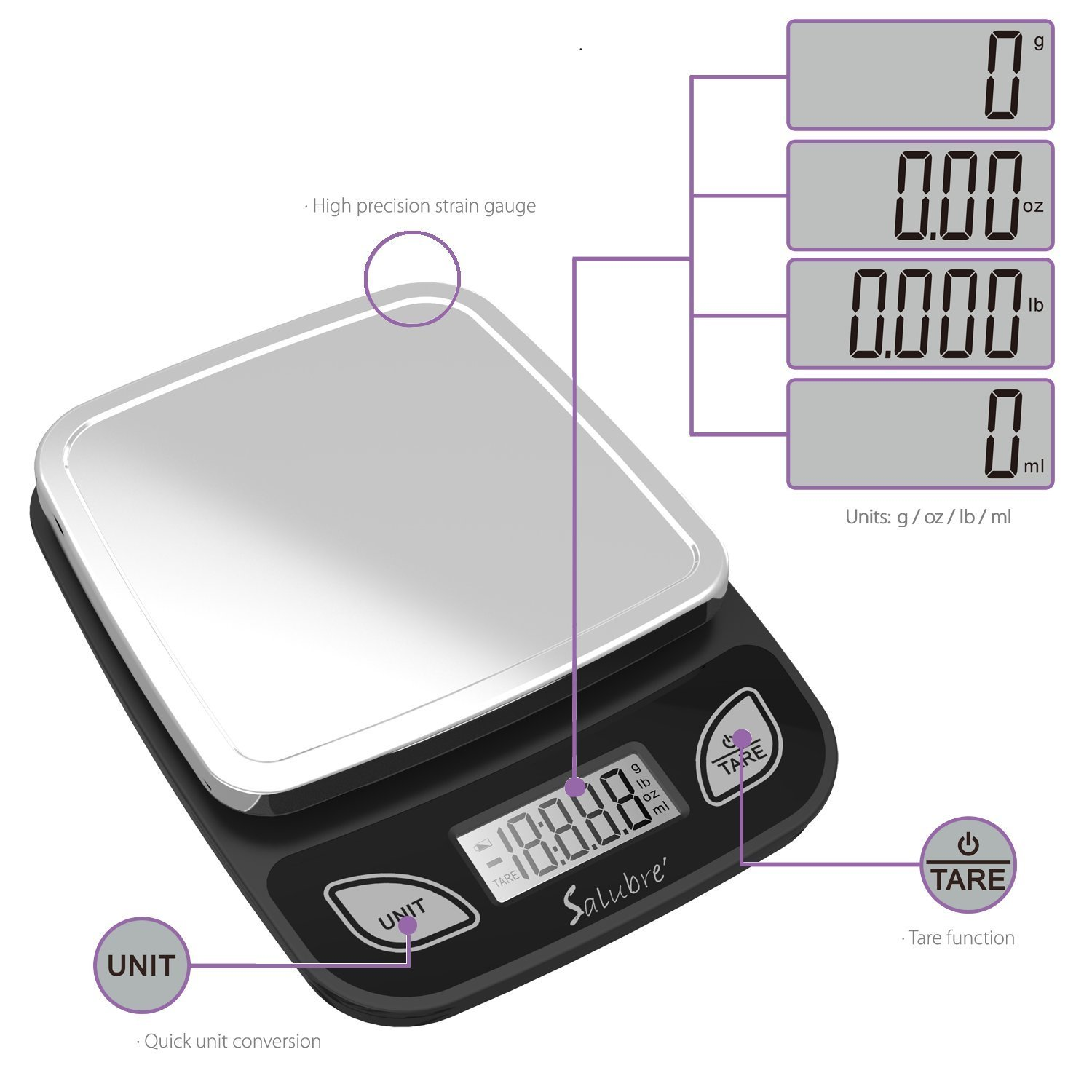 Salubre Digital Kitchen Food Scale - Weigh In Ounces, Grams, Pounds