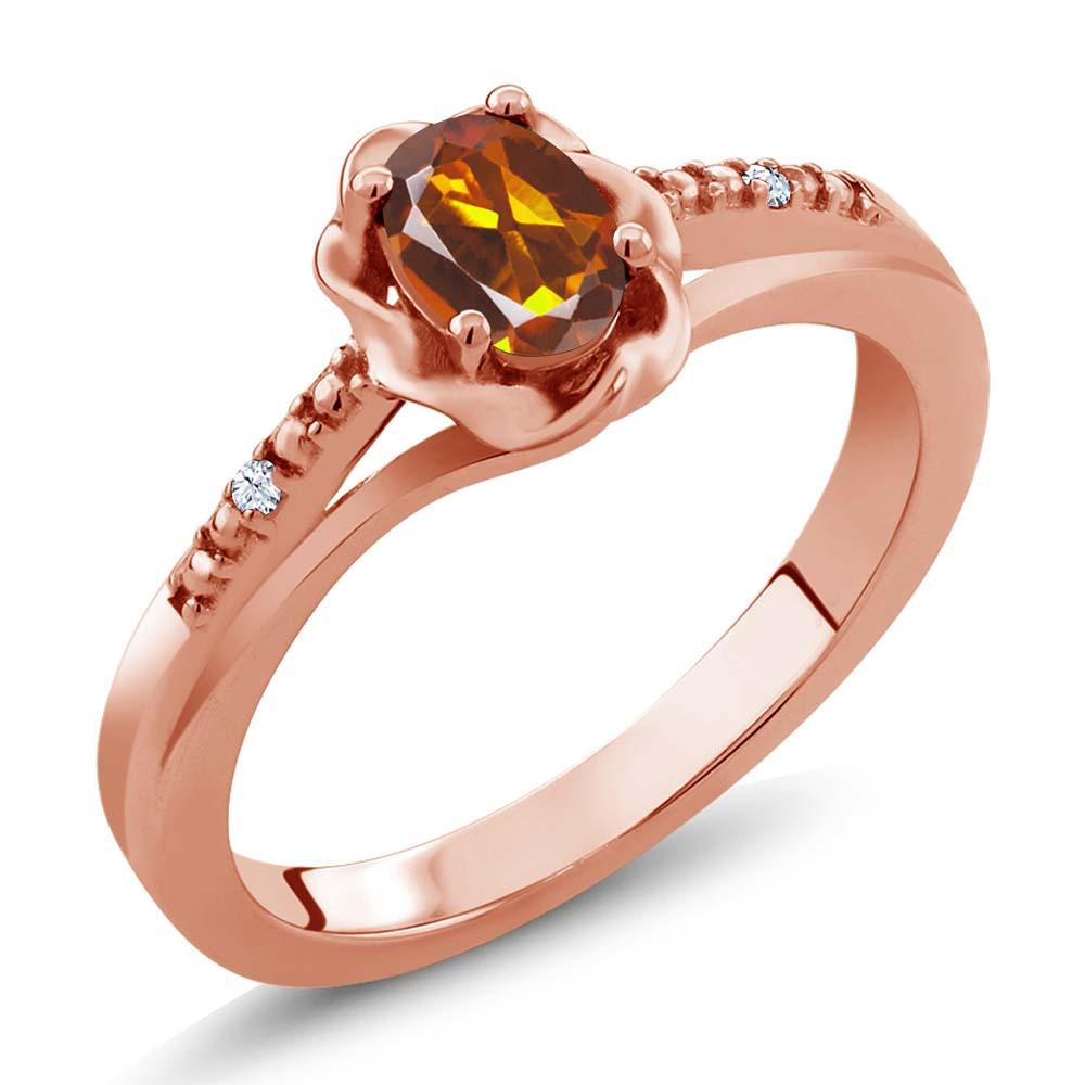 0.42 Ct Oval Orange Red Madeira Citrine White Topaz 14K Rose Gold Ring