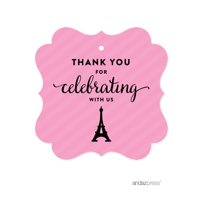 Thank You For Celebrating With Us!  Paris Bonjour Bebe Girl Baby Shower Fancy Frame Gift Tags, 24-Pack