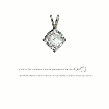 Cushion Diamond Solitaire Pendant Necklace 14K White Gold ( 0.71 Ct, E, VS1 GIA Certified)