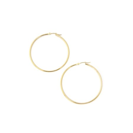 - 14k Yellow or White Gold 1.5mm Thin Large Polished Hoop Earrings, 1.8