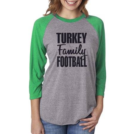 Turkey Family Football Womens 3/4 Raglan Sleeve T-Shirt Top