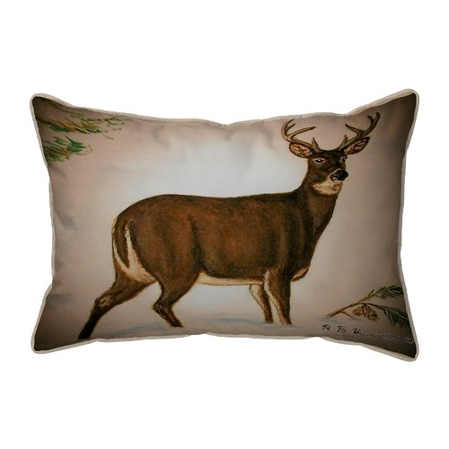 Perfect Betsy Drake Interiors Lodge Deer In Snow Indoor/Outdoor Lumbar Pillow Awesome Design