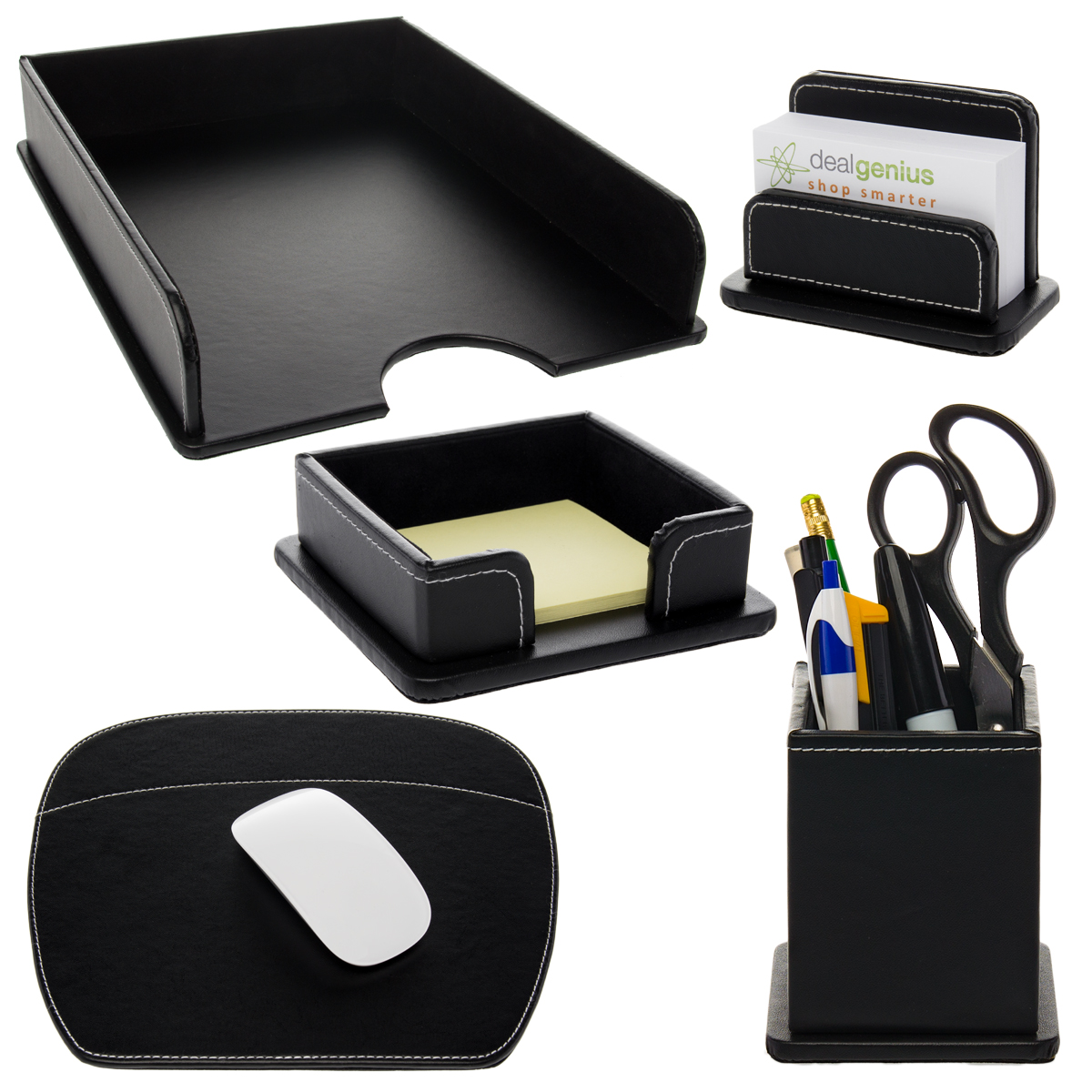 Superbe 5pc Leatherette Office Desk Organizer Set Tray Mousepad Card Note U0026 Pen  Holders