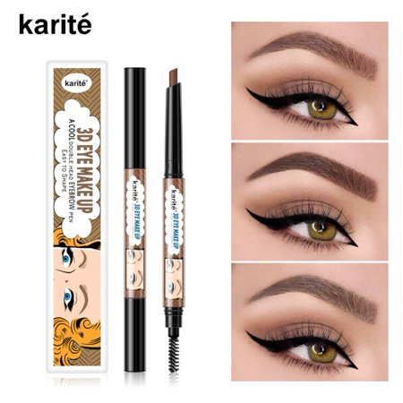 Double-headed Oval Eyebrow Pencil Waterproof Smudge-proof Long Lasting Coloration Eyebrow Pen With