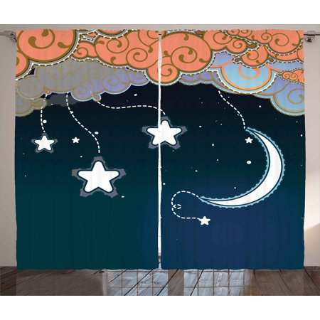 Kids Curtains 2 Panels Set, Cartoon Style Night Sky with Swirled Clouds Stars and Moon Dotted Lines, Window Drapes for Living Room Bedroom, 108W X 108L Inches, Dark Blue White Salmon, by Ambesonne