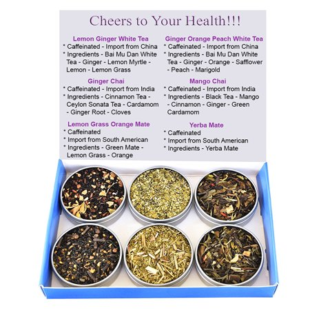 Organic Silver Needle White Tea - Tea Sampler - Mate - Ginger Chai - Mango Chai - White Tea - Silver Needle - Caffeinated - Gift Box - Loose Tea
