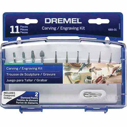 Dremel 689-03 Rotary Tool Carving and Engraving Accessory Kit for Stone, Glass and Terra Cotta, 11-Piece