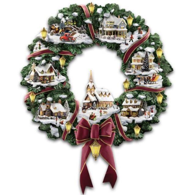 The Hamilton Collection Thomas Kinkade Victorian Christmas Village Wreath Walmart Com Walmart Com