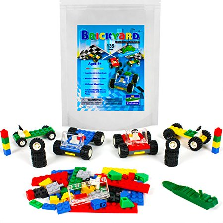 Wheels, Tires, and Axles - 135 Pieces Building Bricks Compatible Set by Brickyard Building Blocks - Includes Steering Wheels, Windshields, and Colorful Brick Chassis Pieces (135 pcs)